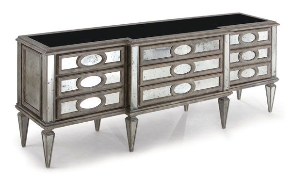 "Entry Buffet/Cabinet. Company: Christopher Guy. Description: A neo-classic cabinet with mirrored chest comprising of three centrally positioned drawers enhanced by faux-drawer side doors, also available in a side table version. Measurement: Width 89"" x Depth 22"" x Height 34"". Glass Type: Antique. Finish: Parisian Mist"