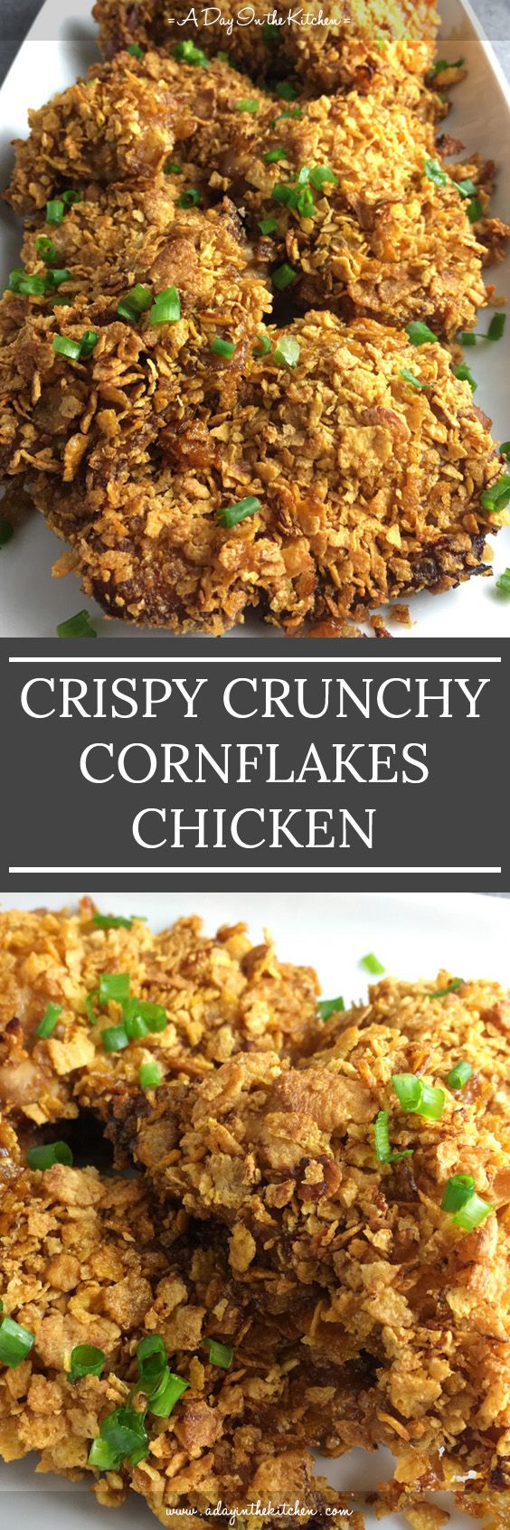 If you love fried chicken, but don't love deep-fried, then this chicken recipe is for you! Crispy Crunchy Cornflakes Chicken is juicy, tasty and oven-baked!