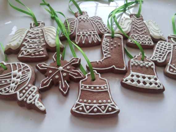 Dozen Gingerbread Christmas ornaments by CookmunkCookies on Etsy