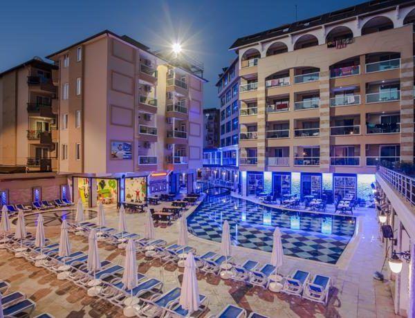 Отель Tac Premier Hotel & Spa в Турции находится всего в 50 метрах от знаменитого пляжа Клеопатры. Гостям отеля Tac Premier Hotel & Spa предоставляется спа-центр и много развлечений.  Есть крытый и открытый бассейны. Можно также бесплатно посетить тренажерный зал.  В отеле 253 номера. На территории отеля находятся много магазинов, закусочная, парикмахерская, салон татуировок и пирсинга, магазин очков, фотомастерская…