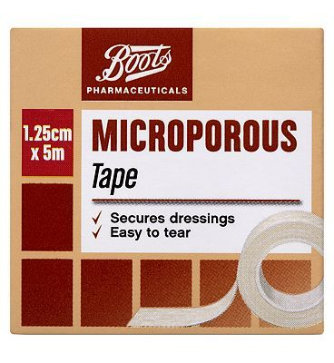 #Boots Pharmaceuticals Microporous Surgical Tape #4 Advantage card points. Boots Microporous Surgical Tape 1.25cm x 5m secures dressings and easy to tear. Always read the product information before use. FREE Delivery on orders over 45 GBP. (Barcode EAN=5000167082999)