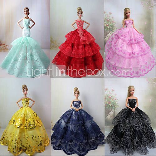 6 PCs poupée Barbie robe de soirée de luxe Princesse charmante de 1338291 2016 à €25.47