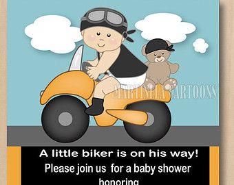 Motorcycle baby shower invitation, first birthdday invitation,  printable biker baby invite, coed shower, dark skin baby available