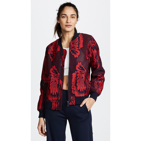 Tory Sport Soho Floral Bomber Jacket ❤ liked on Polyvore featuring outerwear, jackets, floral print bomber jacket, flower print bomber jacket, blouson jacket, tory sport and bomber jackets