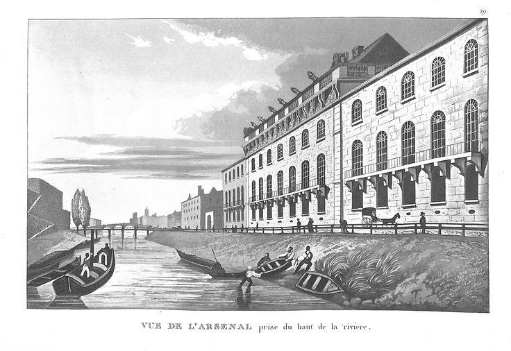 Vue de l'Arsenal prise du haut de la rivière - Paris en 1839 - pour J. de Marlès à Bruxelles