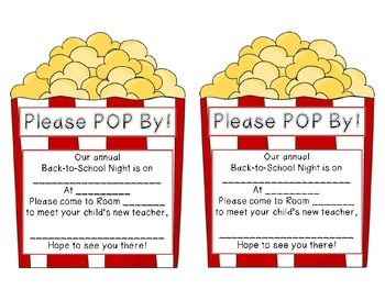 Back To School Night Parent Communication Notes Popcorn Themed