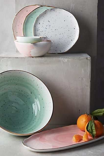 This luminescent collection represents a collaboration with Lindsay Emery, the North Carolina-based ceramicist at the helm of Suite One Studio. Each and every only-here piece is inspired by watercolor paintings and finished with a flourish of genuine gold.