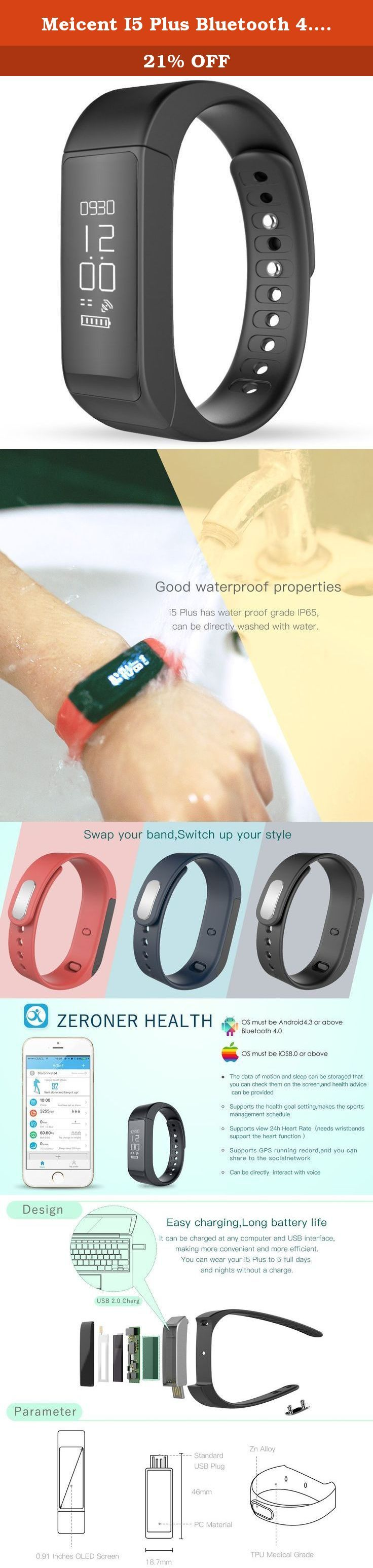Meicent I5 Plus Bluetooth 4.0 Wireless Fitness Tracker / Activity Tracker Smart Watch (Black). Product Specifications Model: MT-I3HR Color: Black, Red, Blue System: iPhone iOS 8.0 or above, Android 4.4 or above. Wristband Material: TPU Medical Grade Case Material :PC Net Weight: 18 g Screen: OLED 0.91 inch Resolution: 128 x 64 Bluetooth: V4.0 Waterproof: IP67 Battery: 75mAh Li-battery Body Size: 49*19*10mm Wristbands length: 252mm Operating Temperature: -20 ℃ to 60 ℃ Weight: 140 g Package...