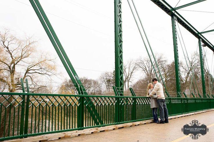 london engagement photography on bridge