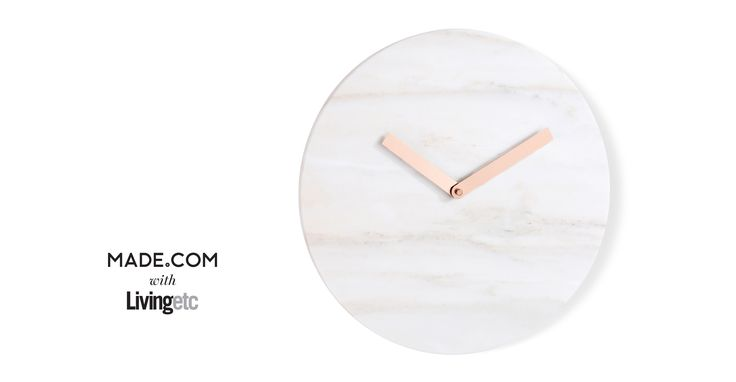 Cullen Wall Clock, Marble and Copper