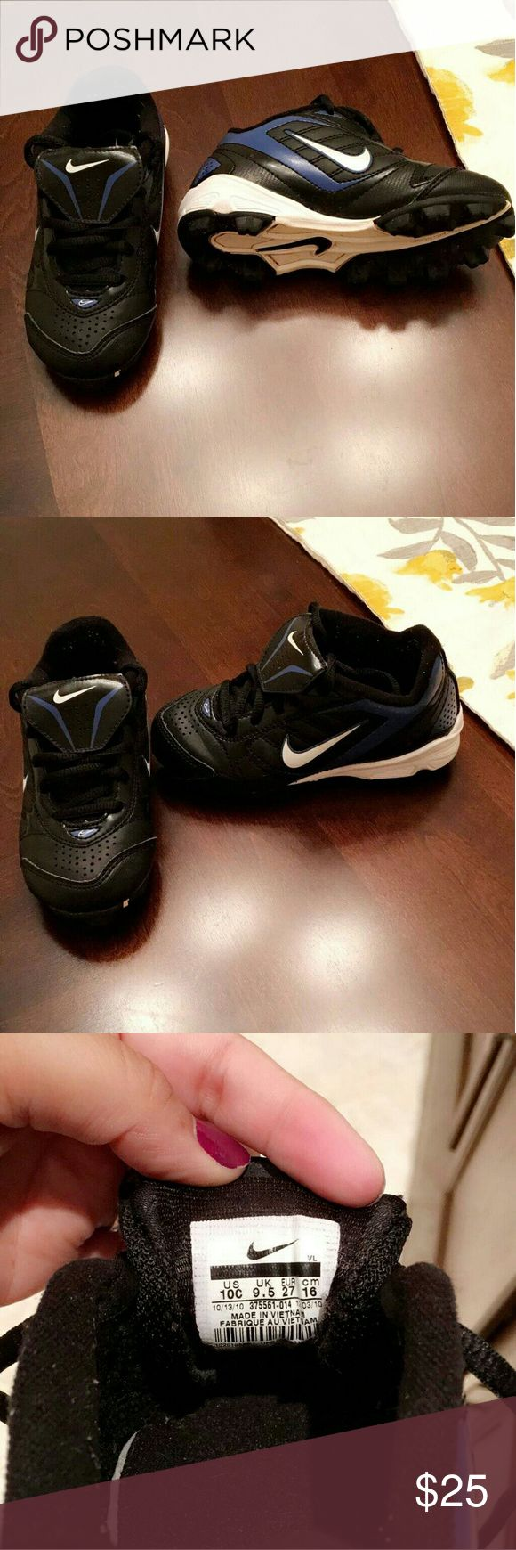 Nike baseball cleats Black, blue and white Nike baseball toddler cleats. In great condition. Nike Shoes