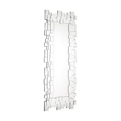 This high quality mirror uses mosaic tiles to create an irregular inner and outer edge to the mirror's frame. The effect of this distorted boundary is an amorphous appearance that allows the mirror to integrate beautifully with any surface in your home.