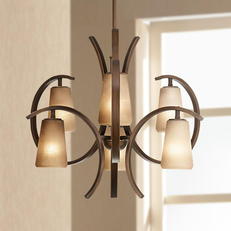 Bezier 6 Light 30 Wide Curved Frame Iron Chandelier