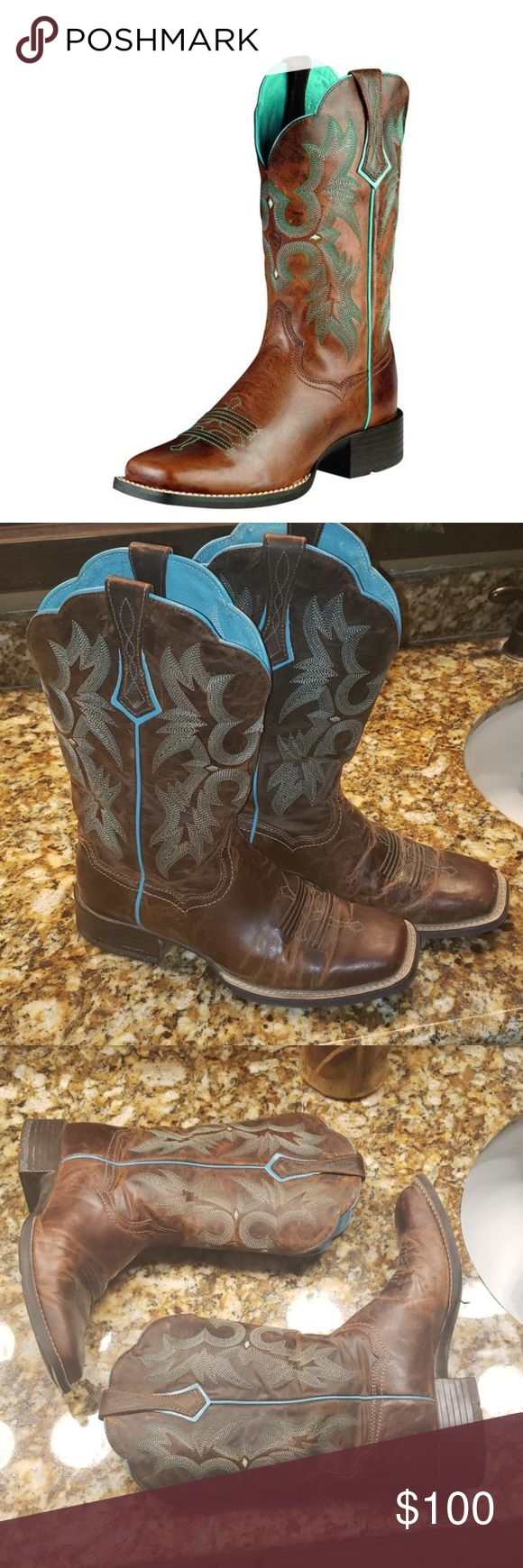 Ariat Tombstone Western cowboy boots, sz 7B Ariat western leather boots, currently retailing for $179.95. Size 7B which is 7 medium. Teal STYLE # 100…