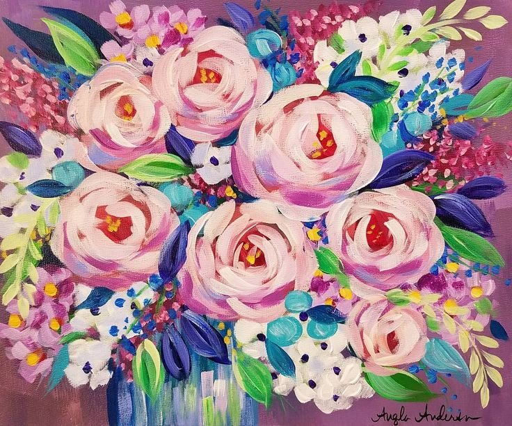 Free Impressionist Floral Acrylic Painting Tutorial by Angela Anderson on YouTube #flowers #acryliconcanvas