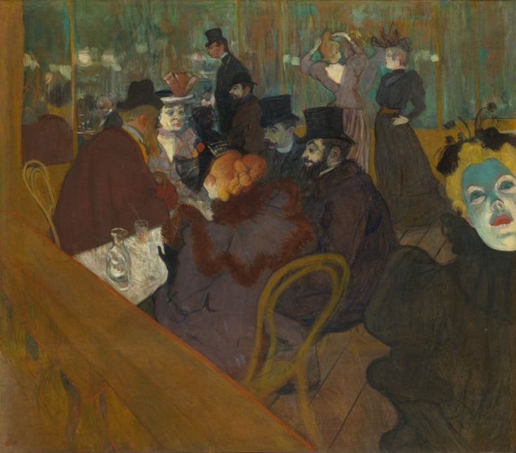 At the Moulin Rouge - Henri de Toulouse-Lautrec, 1882. The Art Institute of Chicago