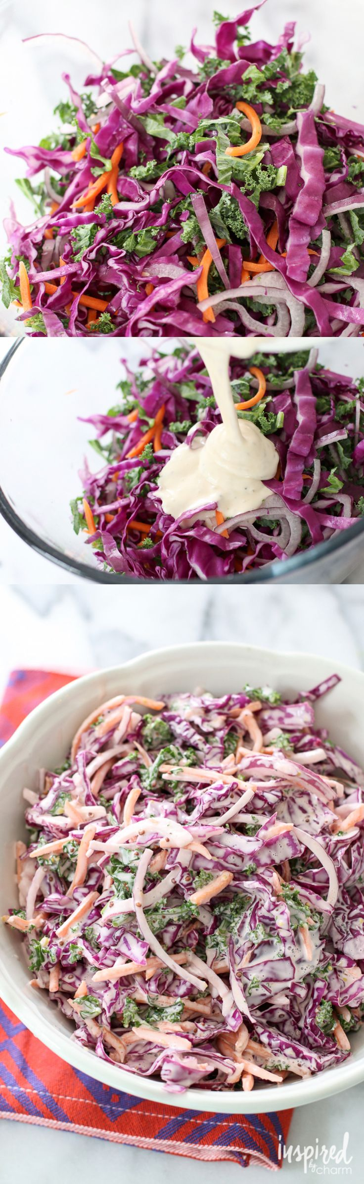 Red Cabbage Coleslaw   Hands down one of the best coleslaw recipes. Love the addition of carrots and kale. Perfection!