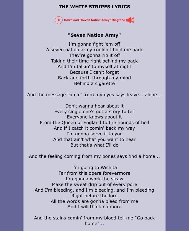 White Stripes - Seven Nation Army - Lyrics Scrolling - YouTube