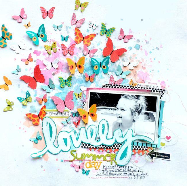 Bella Blvd Butterfly Scrapbook Layout by Missy Whidden