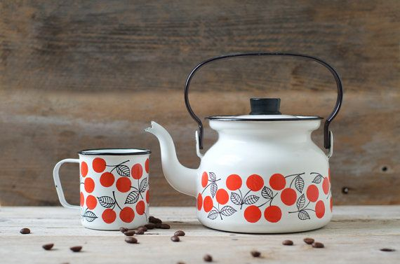 Rare Vintage Finel Kirsikka Teapot & Cup by by HouseofSeance