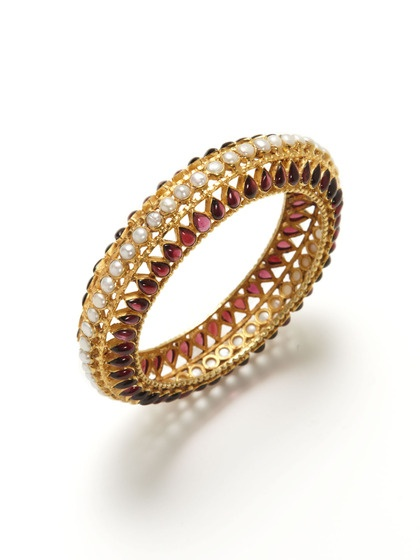 Tribe by Amrapali  Garnet & Pearl Cutout Bangle