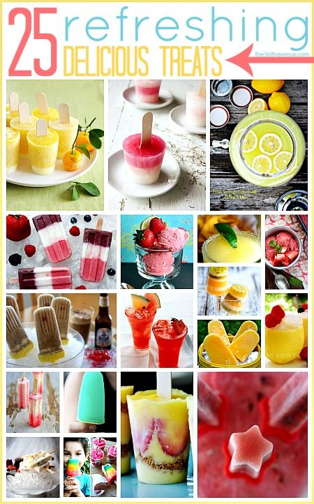 Hi friends! Summer is all about fun, sunny days, and fresh cold treats. It is hot here so today we are bringing back these 25 refreshing delicious treats.  Check out this Mango Orange Yogurt Popsicle recipe at 6bittersweets.com Come on… I know you want one!  …or what about this Watermelon-Mint Popsicle recipe at …