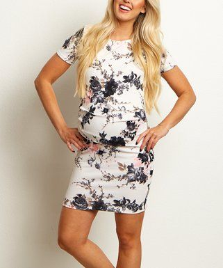 PinkBlush Maternity | White Floral Ruched Maternity Bodycon Dress