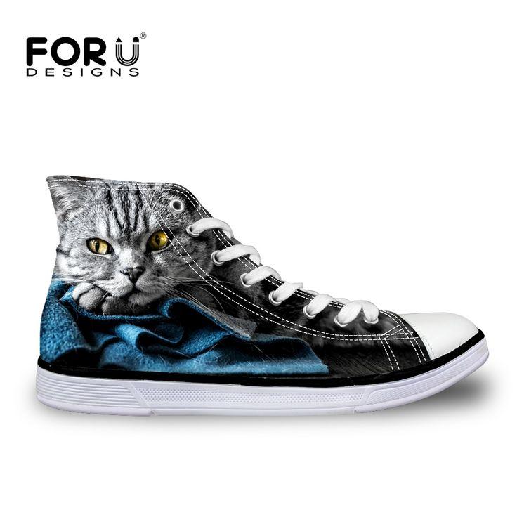 FORUDESIGNS Creative 3D Animal Cat Dog Printing Men's High Top Shoes Man Casual Vulcanized Canvas Footwear Comfortable Flats