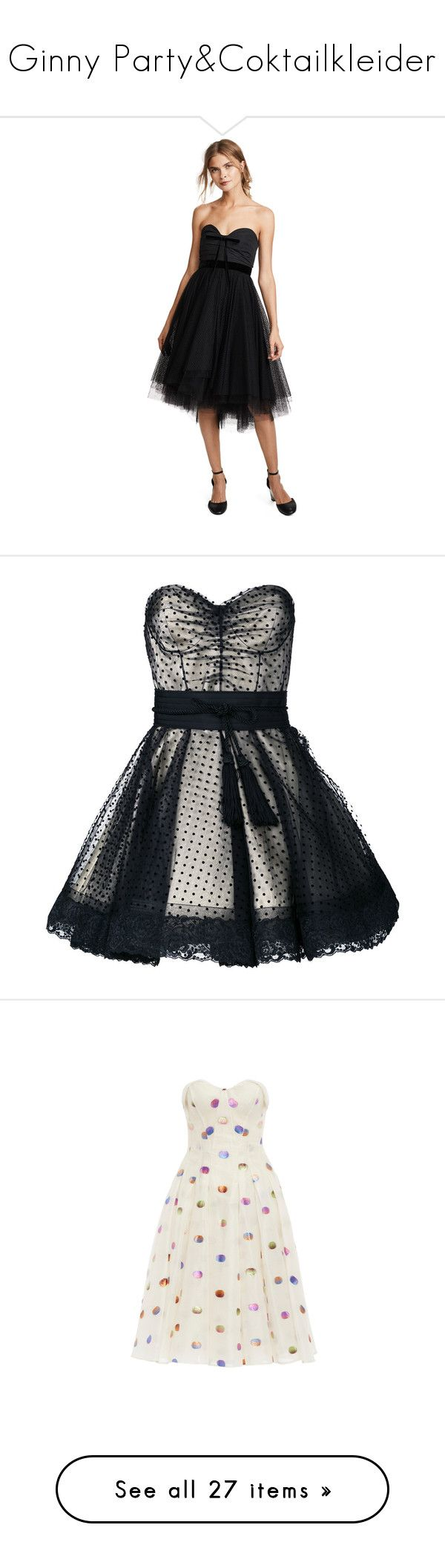 """""""Ginny Party&Coktailkleider"""" by kleinesbiest ❤ liked on Polyvore featuring dresses, black, strapless dress, layered dress, tulle cocktail dress, full skirts, strapless tulle dress, polka dot dress, sweetheart lace dress and lace cocktail dress"""