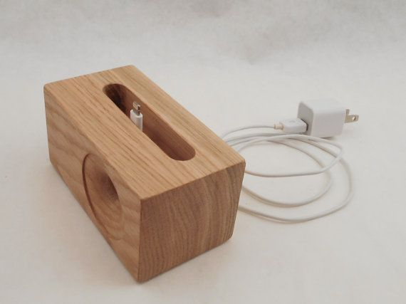 This is an acoustic SpeakerBlock that works with all versions of the iPhone 4, 5, and 6 including the 6 plus. It is all wood and made of Oak. It has