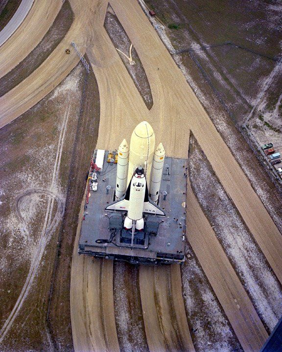USA - Dec. 29, 1980 -- The rollout of space shuttle Columbia for STS-1