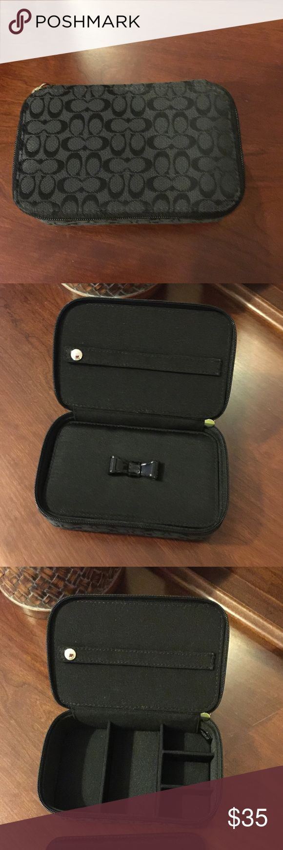 Coach jewelry box Coach jewelry box, used once in like new condition.  Great for traveling, on your dresser or in a drawer with your finer jewelry out of site. Nonsmoking *** Accessories