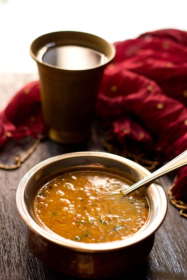 gujarati surati dal recipe - sweet and sour dal curry made from pigeon pea lentils