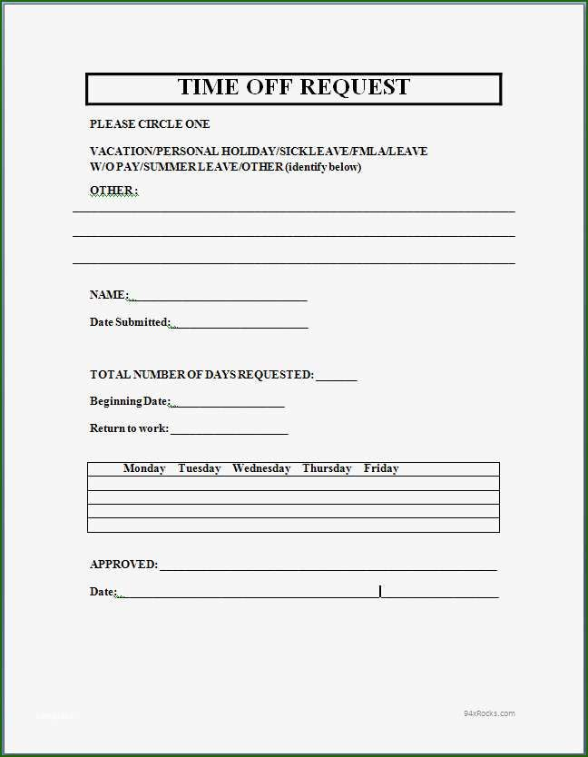 Time Off Request Form Template Microsoft 10 Perception For 2020 Time Off Request Form Business Mentor Return To Work