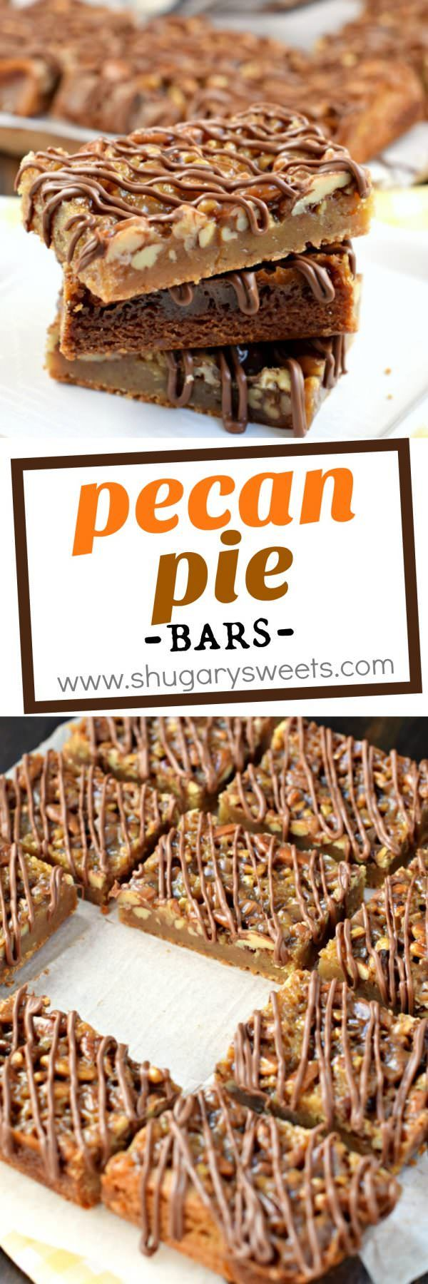 Chewy, nutty Pecan Pie Blondies are the perfect Fall treat! Or bake them all year long!