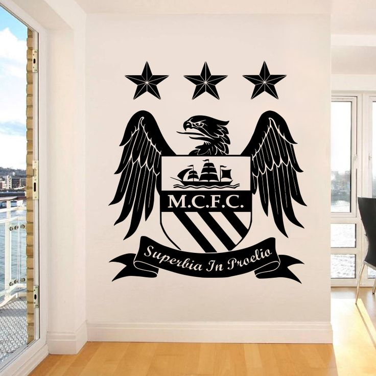 Find More Wall Stickers Information about Man City badge Wall sticker Vinyl Football Marks DIY Art Home Decor 3D Wall…
