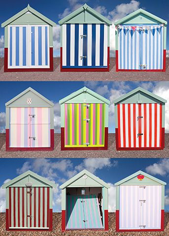 Striped Beach Huts, Hove, East Sussex, UK. There are now aroun 40 striped huts in Hove as of August 2015. I have now photographed them all. Also available as a Greetings Card from www.tonybowallphotography.com
