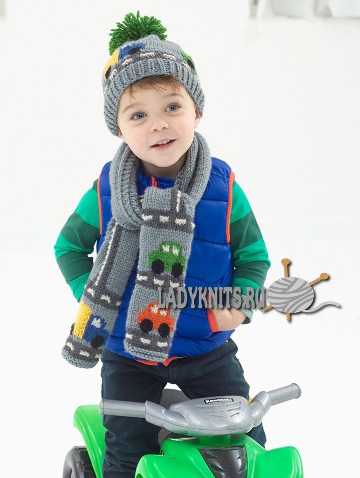 вязаный спицами шарф для мальчика