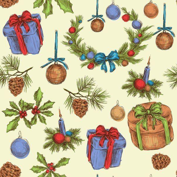 Новогодний фон с венком, игрушками, подарками и еловыми ветками.
