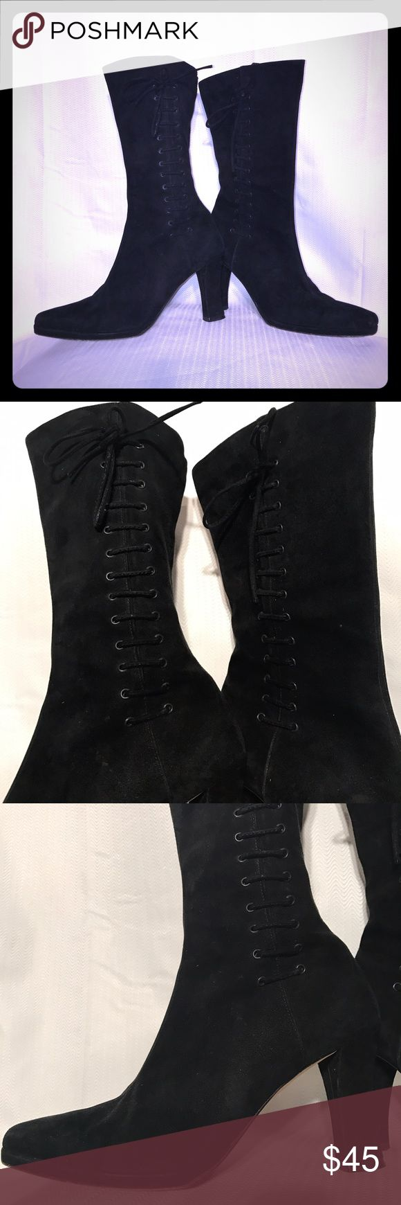 Via Spiga for Neiman Marcus suede boots. Size 7 Via Spiga for Neiman Marcus suede boots. Size 7   Black Suede with shoe lace up the outside. Via Spiga Shoes