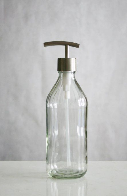 Amazon.com - Vintage Inspired Glass Soap Dispenser w/ Modern Stainless Pump. To use as mouthwash dispenser in the upstairs bath.
