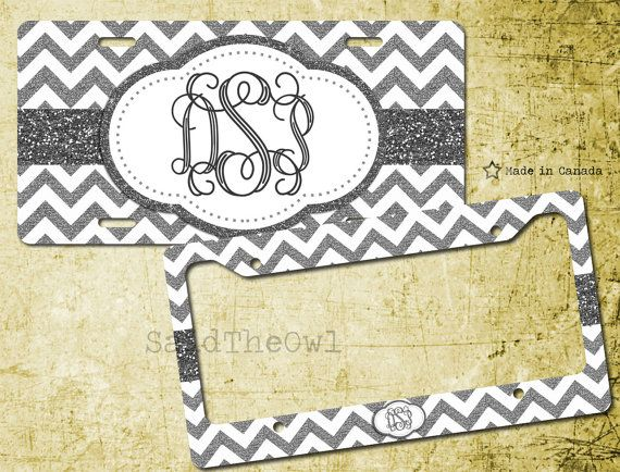 Black and White Glitter Chevron Cute License Plate by SaidTheOwl
