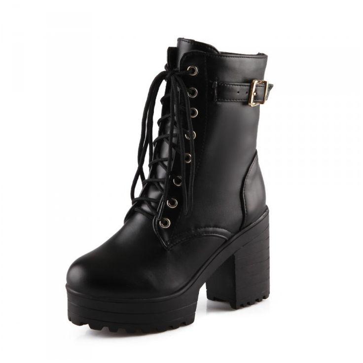 Plus size 34 43new 2015 sapatas do punk gótico cosplay plataforma botas sexy zip inverno rendas calcanhar quadrado até meados de bezerro botas de motociclista em Botas de Sapatos no AliExpress.com | Alibaba Group