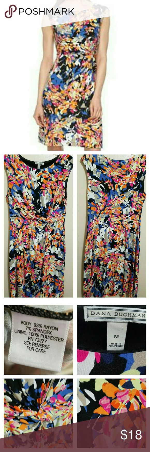 💘JUST IN!💘Dana Buchman Knot Front Dress WORN ONCE on Easter for less than 4 hours! Cute brightly colored floral print dress with what could be described as a twist knot in the front to help define your waist. Material is stretchy and very comfortable! Darkest color is black. The fit is TTS, in my opinion and very complimentary on those with a curvy figure! No holes, rips, or stains. Dana Buchman Dresses