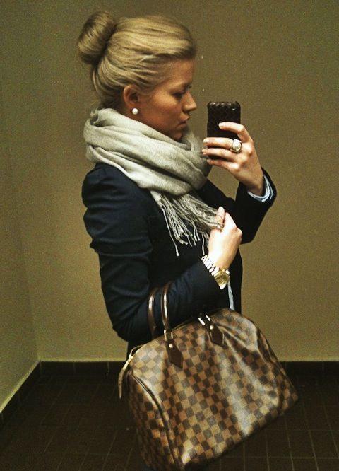 Scarf. Bun. Pearls. Bag.: Ballerina Bun, Louis Vuitton, Style, Bag, Outfit, Sock Bun, Fall Winter