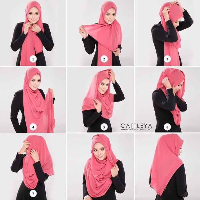 Get your hand ready and follow the steps below: 1. Place the hijab on your head with long & short sides 2. Pin under your chin using the safety pin 3. Move the short side over your neck and pin it on the top 4. Now take the long side 5. Wrap it loosely over your head 6. Pin it at its end 7. Pin the other side too to secure the fabric