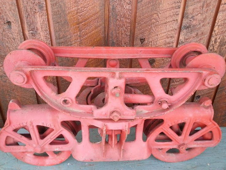 Old Cast Iron Hay Fork Carrier Trolley Farm Tool Sign Beatty Pacific Car Painted | eBay