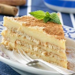 Layered Milk Tart 1 litre (4 c) full-cream milk 2 cinnamon sticks 60 ml (¼ c) custard powder 80 ml (1⁄3 c) cornflour 1 can (397 g) condensed milk 100 g Stork Bake, cubed 1 egg, whisked 2 packets (200 g each) Tennis biscuits ground cinnamon .