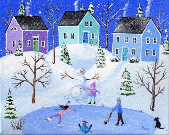 After School Original Folk Art Print by Kim's Cottage Art