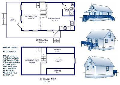 Details about 16x30 cabin w loft plans package blueprints for 16x30 house plans